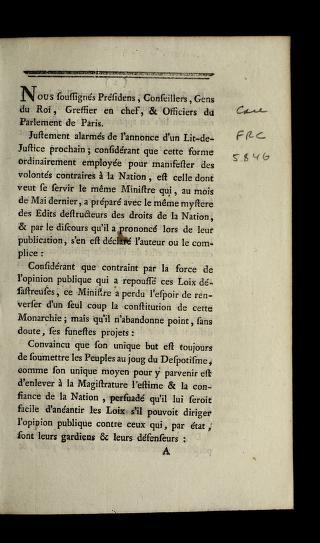 Cover of: Nous soussigne s pre sidens, conseillers, gens du roi, greffier en chef, & officiers du Parlement de Paris   France. Parlement (Paris)